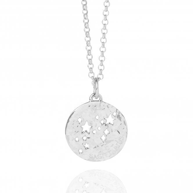 Sagittarius Zodiac Necklace Hammered Silver