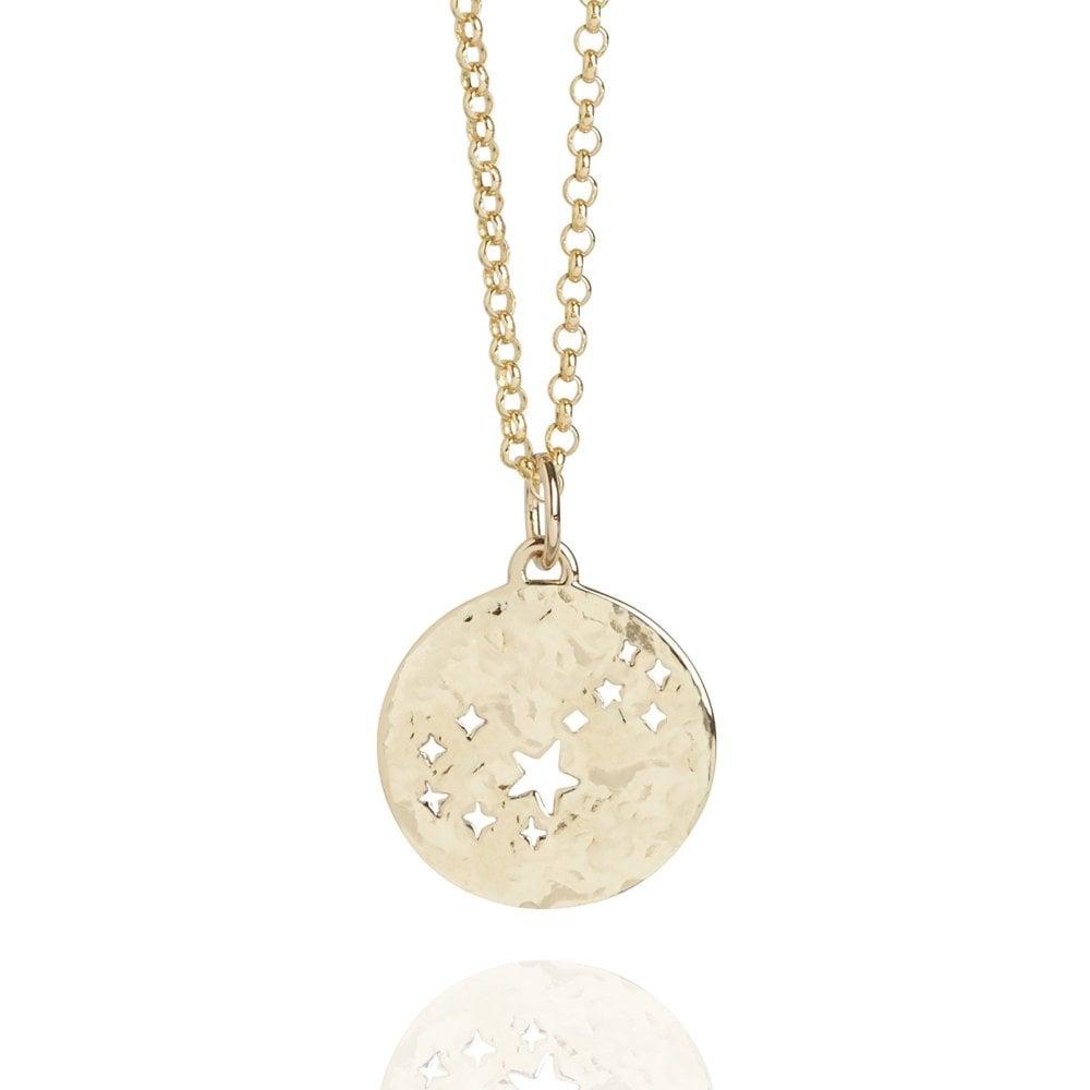 Scorpio Zodiac Necklace Hammered Gold Vermeil