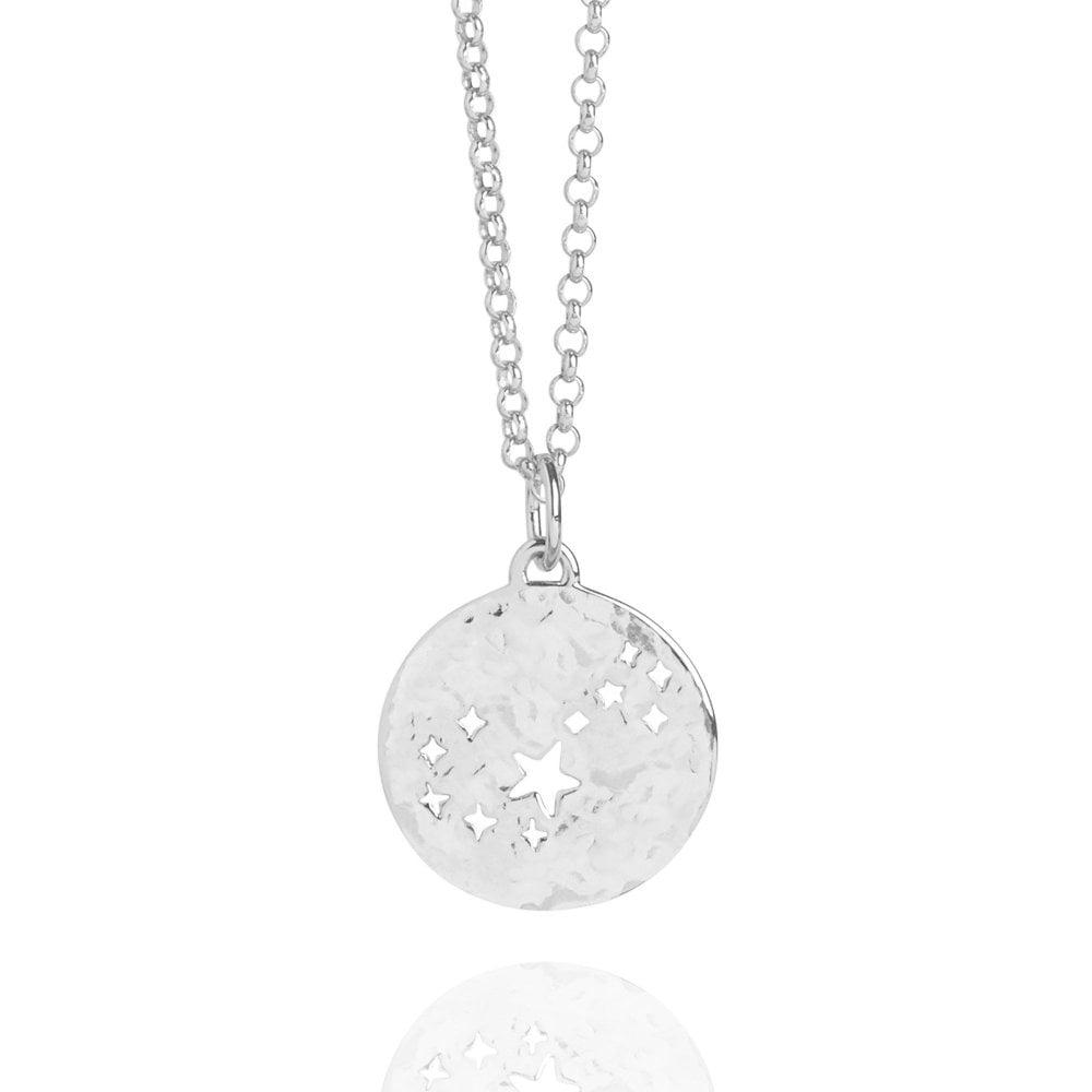 Scorpio Zodiac Necklace Hammered Silver