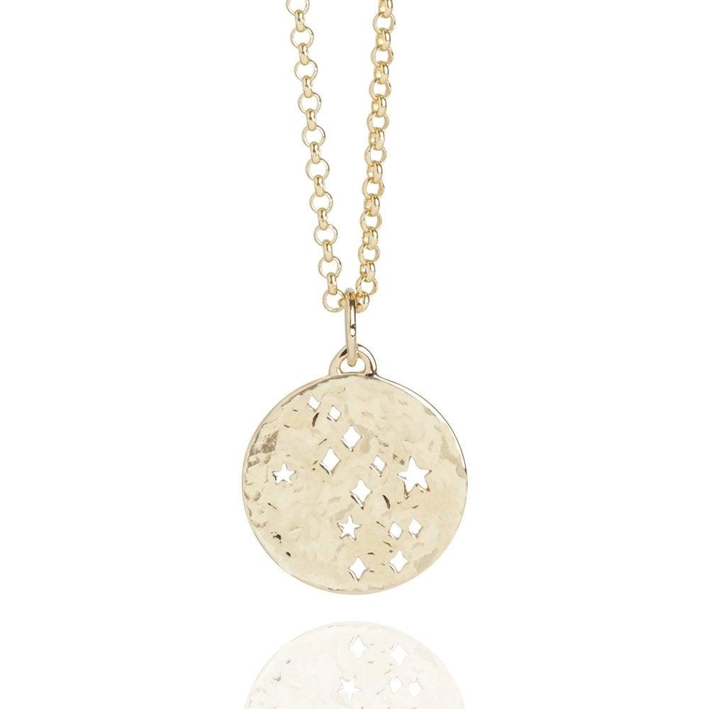 Virgo Zodiac Necklace Hammered Gold Vermeil
