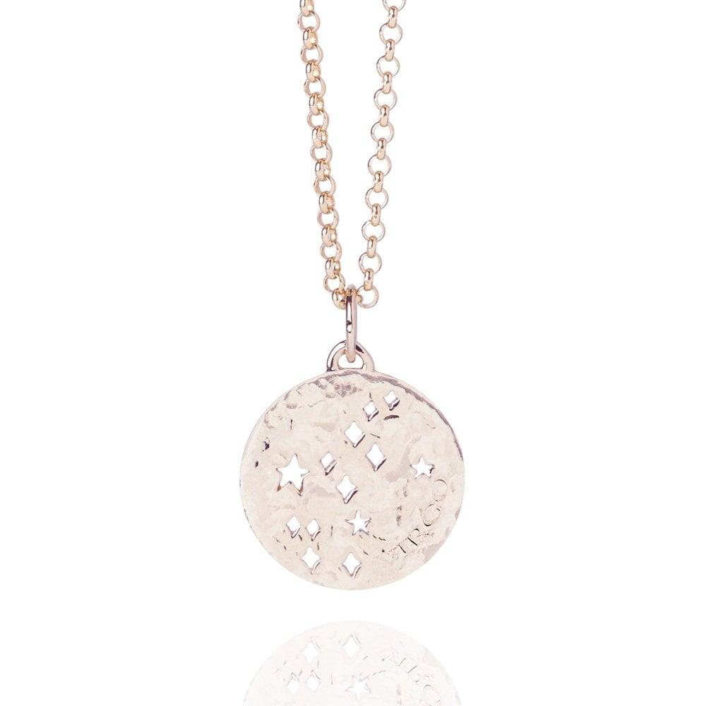 Virgo Zodiac Necklace Hammered Rose Gold Vermeil