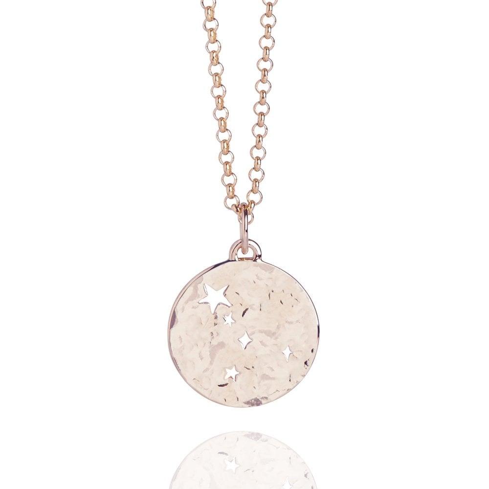 Cancer Zodiac Necklace Hammered Rose Gold Vermeil
