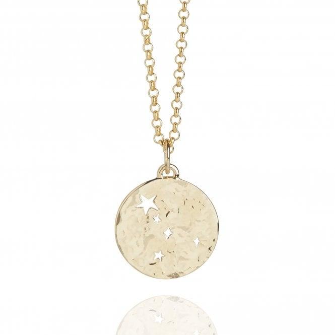 Cancer Zodiac Necklace Hammered Gold Vermeil