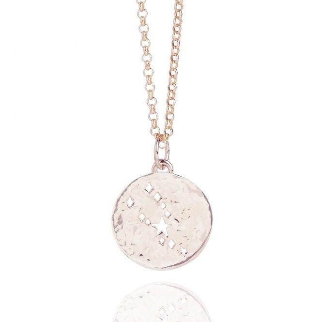 Taurus Zodiac Necklace Hammered Rose Gold Vermeil