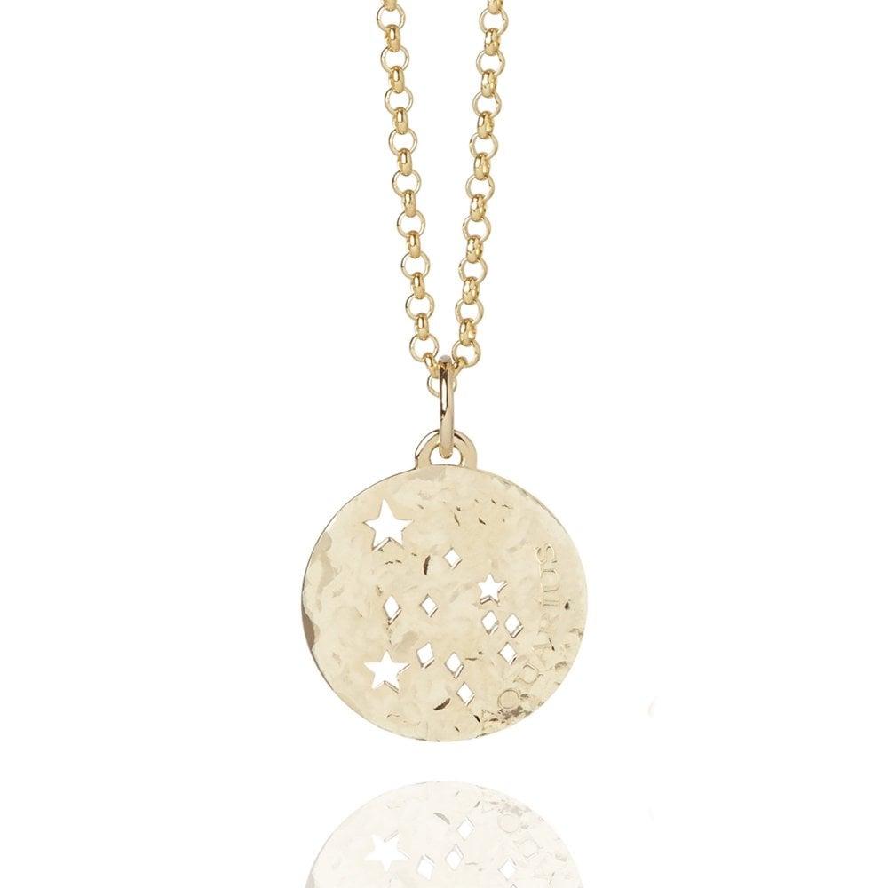 Aquarius Zodiac Necklace Hammered Gold Vermeil